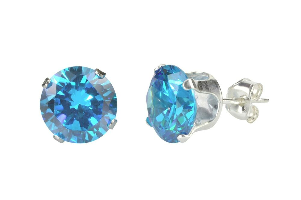blue topaz cz december birthstone earrings sterling silver