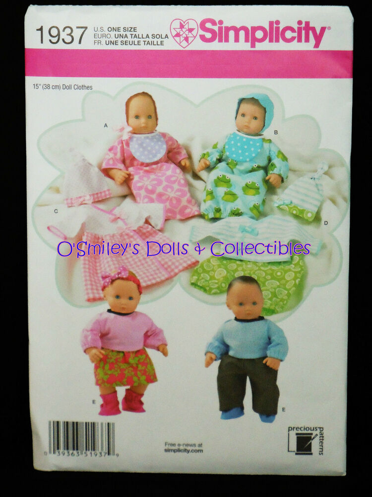 Simplicity 15 Quot Doll Clothing Pattern Baby Dolls Amp Twin