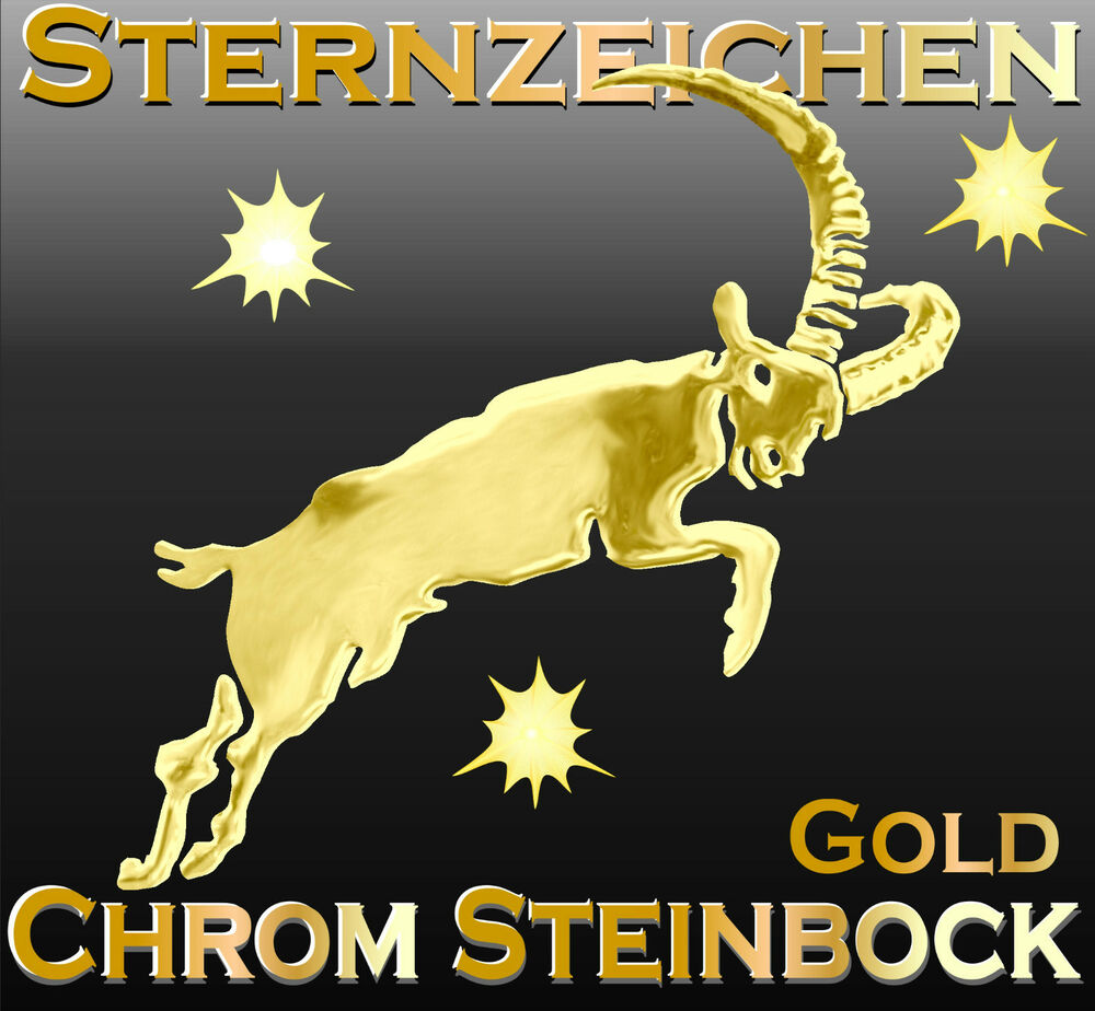 3 d sternenzeichen steinbock gold chrom metall aufkleber auto caravan bike ebay. Black Bedroom Furniture Sets. Home Design Ideas