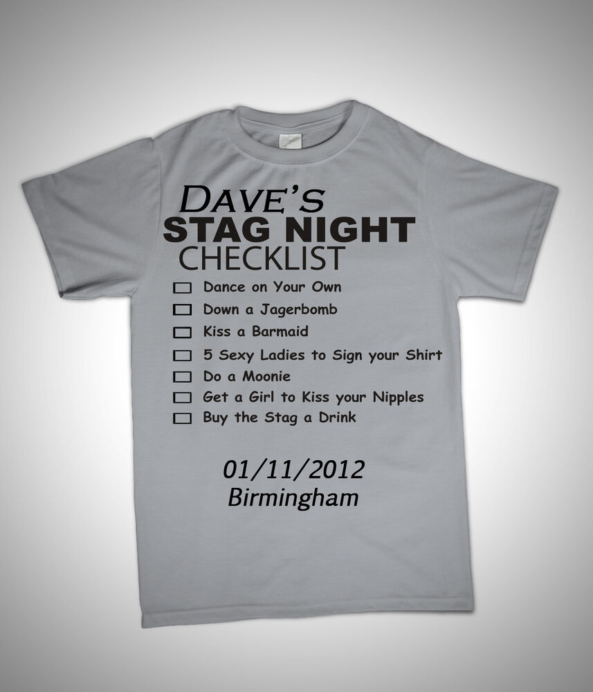 Stag Night Checklist Groom Best Man Funny Novelty T Shirt S L Personalised Ebay
