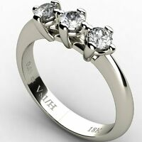 Trilogy Diamond 0.45 ct Vs1 H Engagement Ring 18K ct White Solid Gold ,NEW