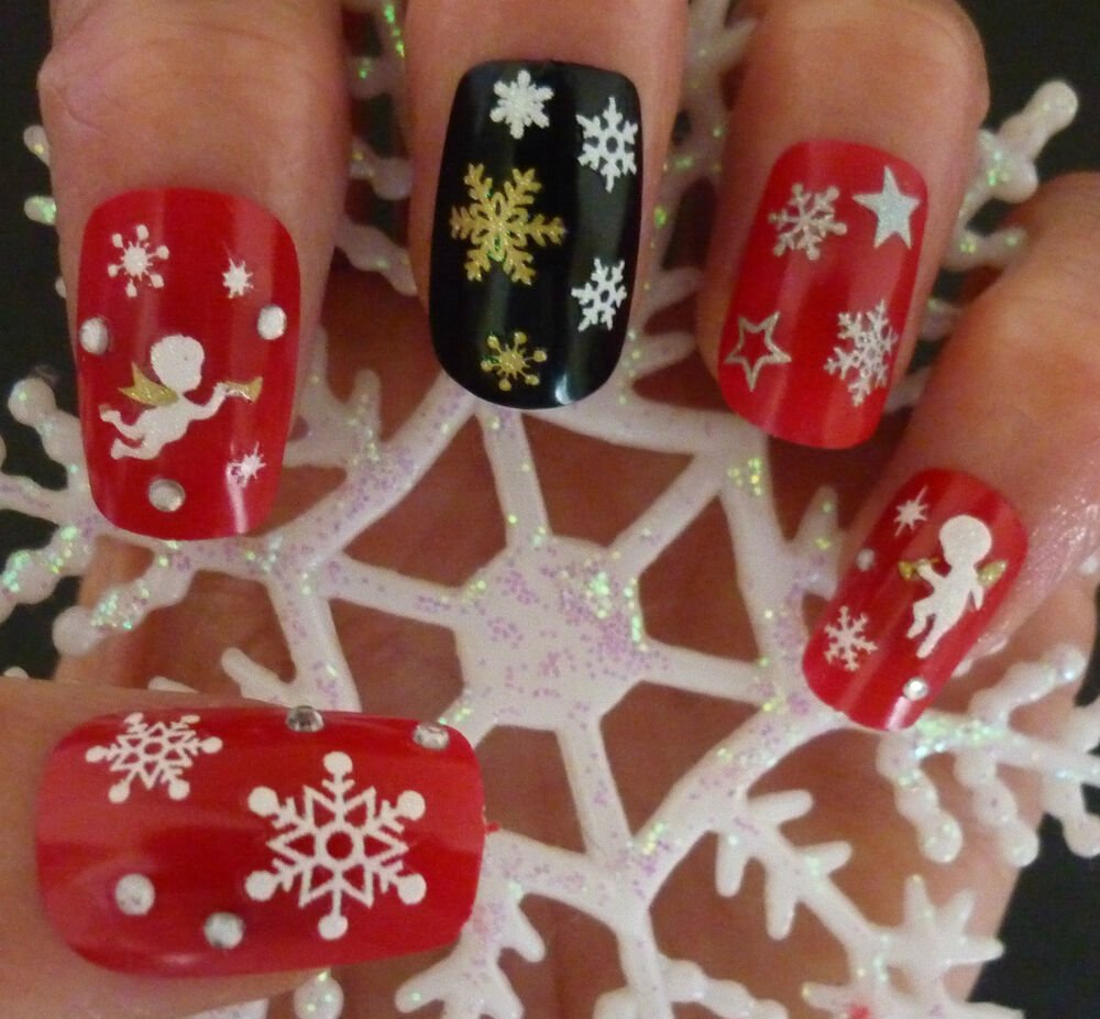 Christmas Snowflakes Design 3d Nail Art Stickers Decals Nail Decoration Sn Ebay