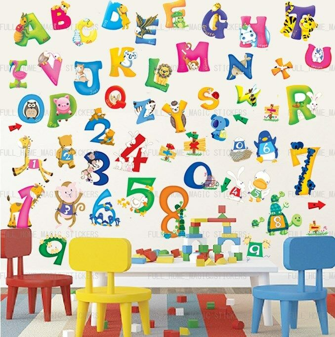Large 54pc Alphabet Animal Number Abc 123 Educational Wall