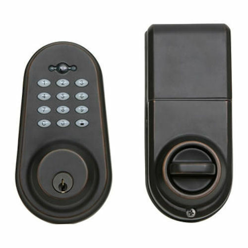 oil rubbed bronze electronic digital deadbolt with keypad remote control kp200 ebay. Black Bedroom Furniture Sets. Home Design Ideas