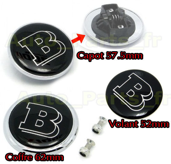 kit 3 embleme coffre volant capot 57 5mm logo tuning brabus mercedes benz ebay. Black Bedroom Furniture Sets. Home Design Ideas