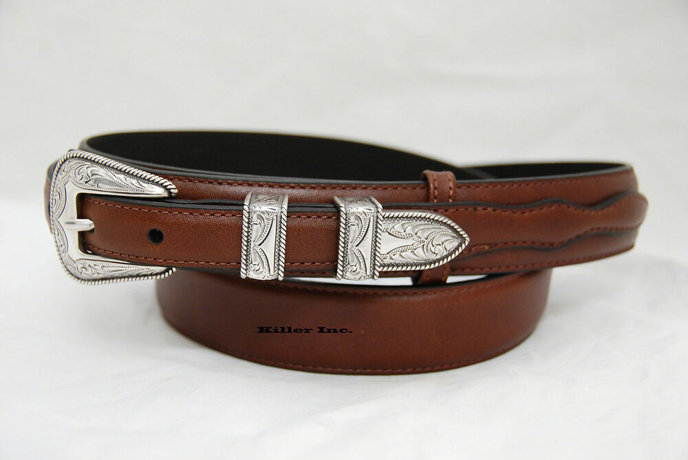nocona 1 1 4 quot brown leather ranger belt n2450702 ebay