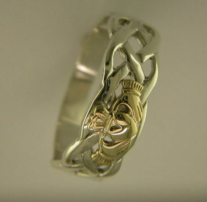 silver and 14k gold handcrafted claddagh and celtic
