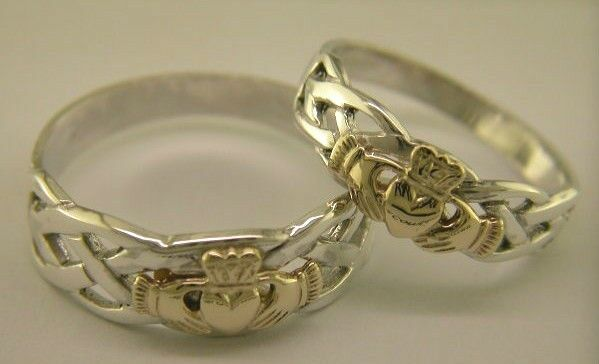 sterling silver 14 carat gold handcrafted claddagh