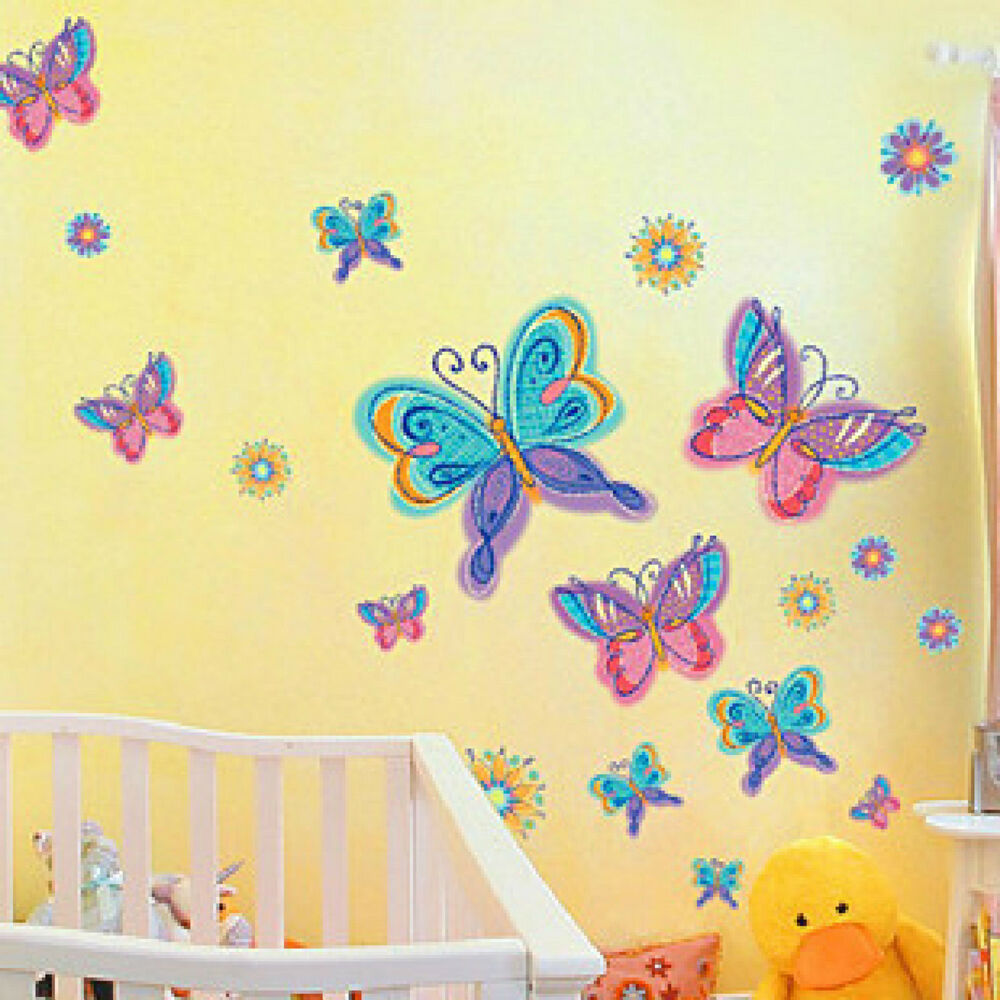 Rainbow R Room: Rainbow Color Butterfly & Flowers Removable Wall Sticker