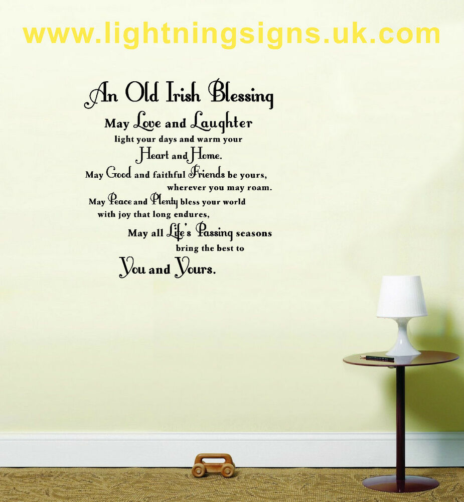 Kitchen Blessing Wall Decor: An Old Irish Blessing Wall Art Quote Saying Decorative
