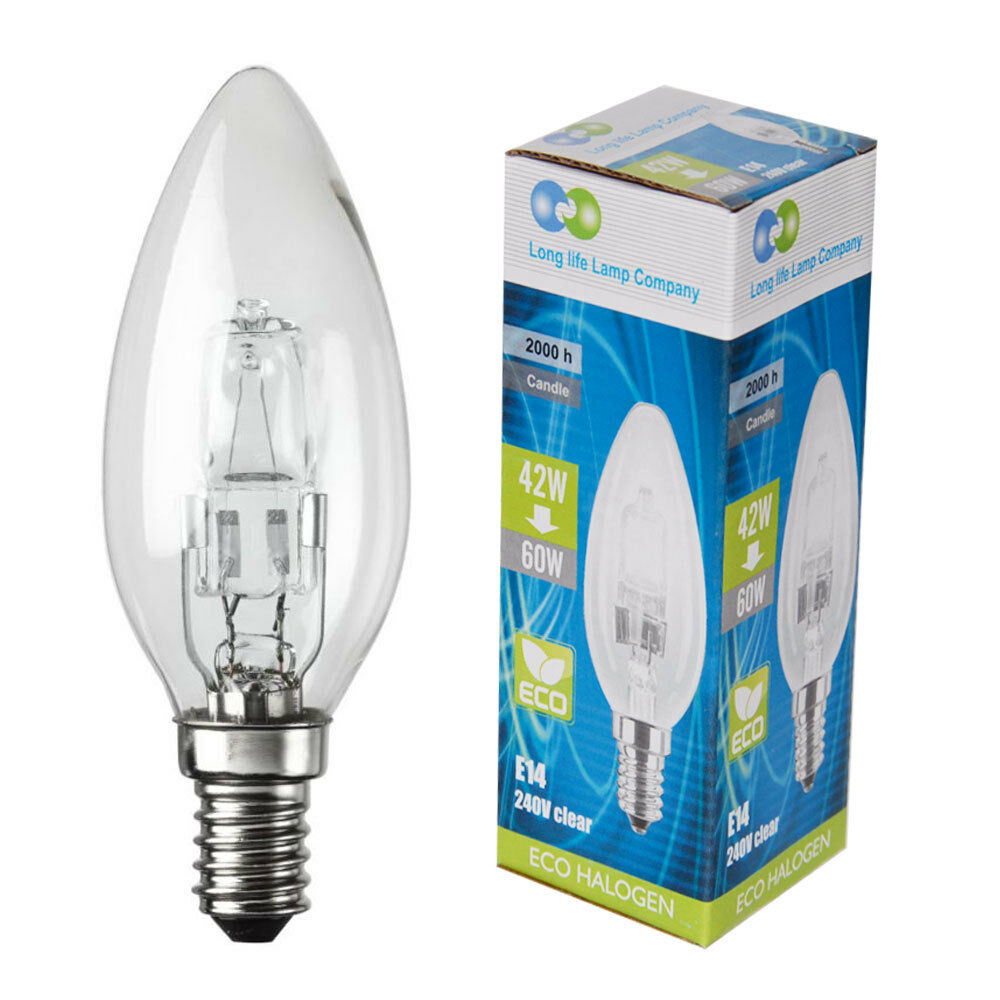 E14 ses eco halogen candle 42w equivalent 60w energy saving light bulb pack of 5 ebay Efficient light bulbs