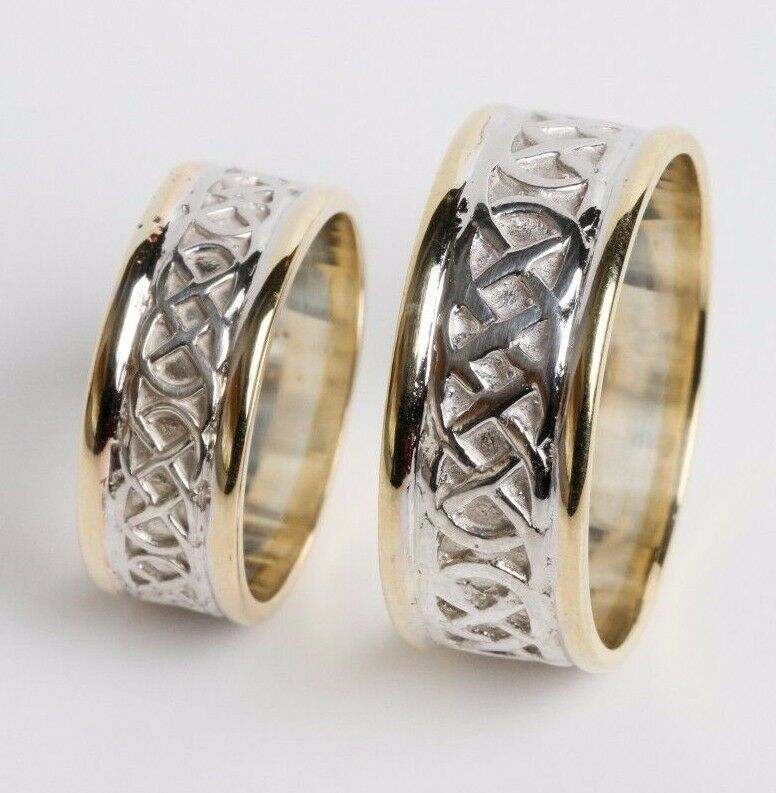 10K Gold Irish Handcrafted Gold Celtic Knot Design Wedding Band Ring Set