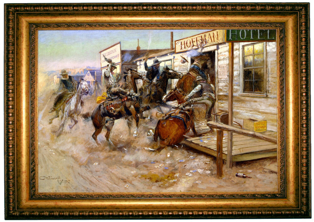 Cm Russell In Without Knocking 1909 Gold Framed Giclee