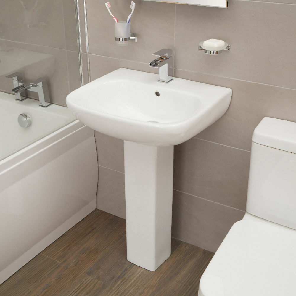 santiago contemporary bathroom basin sink with full pedestal ebay