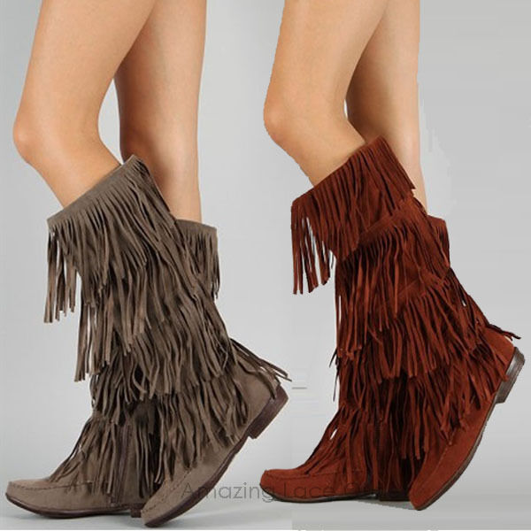 womens fringe boots tassle moccasin faux suede brown