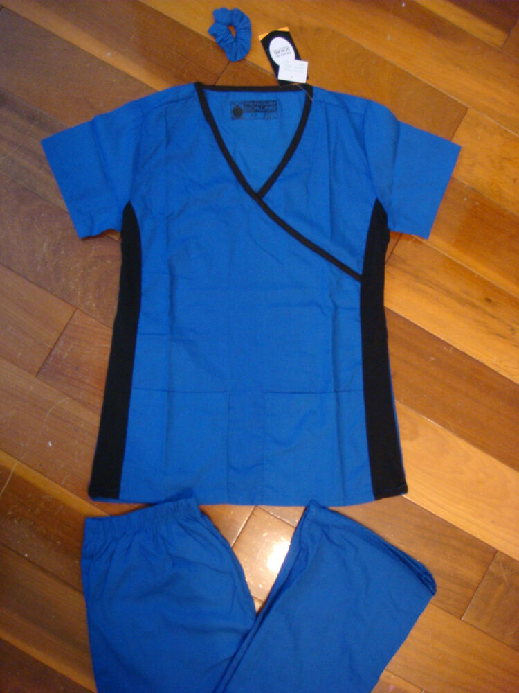 Fior Stretch Stylish Nursing Scrubs Set Royal Side Black