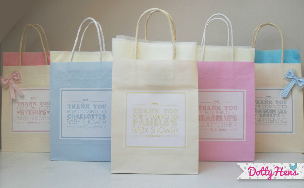 PERSONALISED PAPER BABY SHOWER / CHRISTENING FAVOUR PARTY GIFT BAGS    TISSUE | EBay