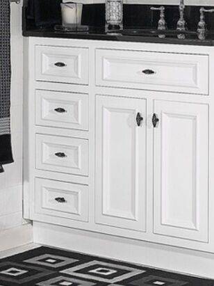 Jsi Danbury White Bathroom Vanity Base 36 Solid Wood Frame 2 Doors 3 Lh Drawers Ebay