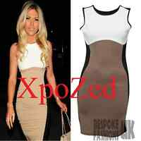 H3D Womens Celeb Towie Essex Slimming Effect Nude Contrast Bodycon Ladies Dress