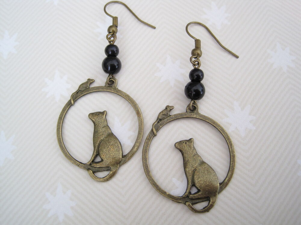 Art Deco Cat Mouse Glass Pearl Beaded Drop Antique Gold