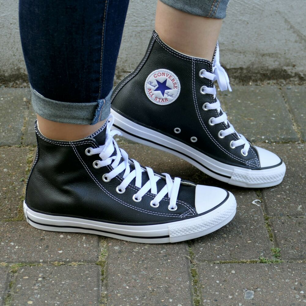 converse chuck taylor all star hi leder schuhe schwarz. Black Bedroom Furniture Sets. Home Design Ideas