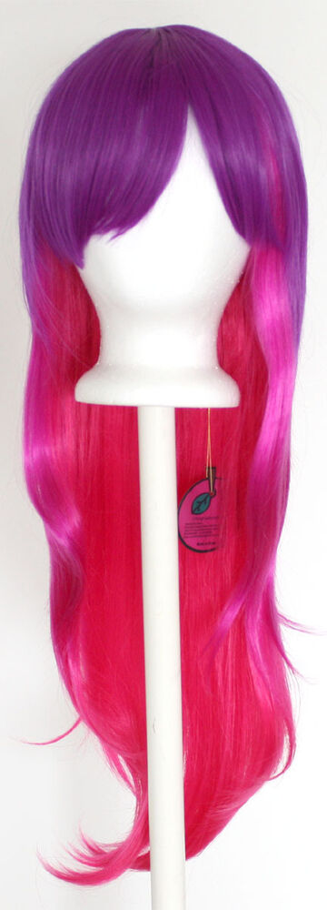 28 Long Straight Layered Fade Purple To Pink Cosplay Wig