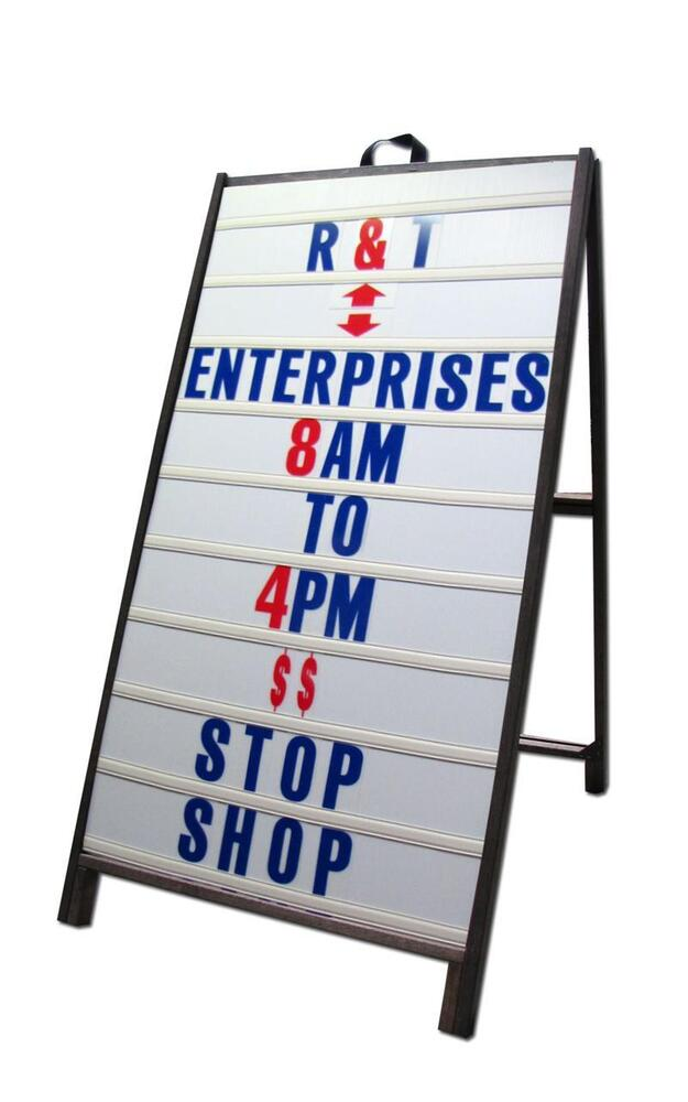 Wood a frame 24quotx48quot sidewalk signs w letter track panels for Sign letter track kit