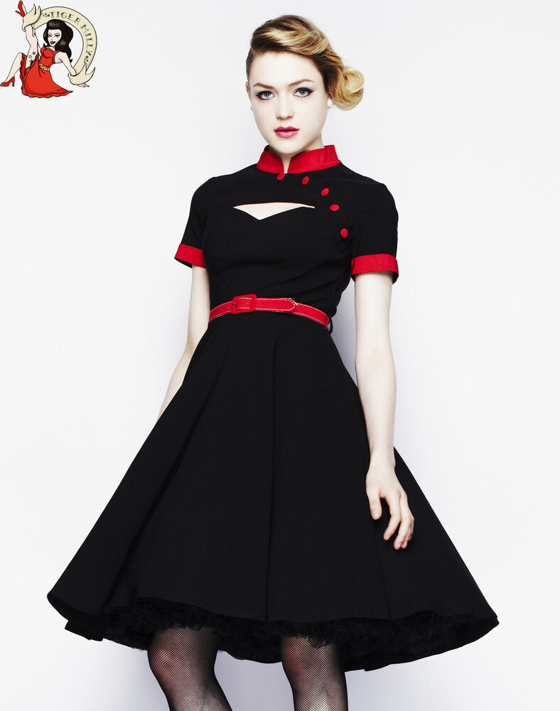 hell bunny 50 39 s swing poesy vintage dress black red ebay. Black Bedroom Furniture Sets. Home Design Ideas