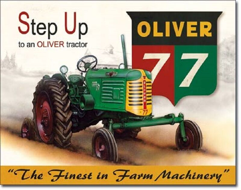 Case Tractor Posters : Oliver tin sign vtg antique tractor metal poster wall