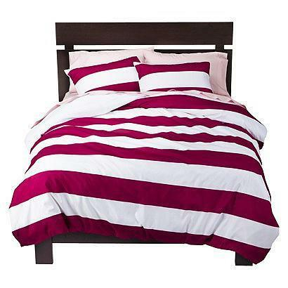 New Room Essentials Pink Striped Duvet Cover Set Duvet