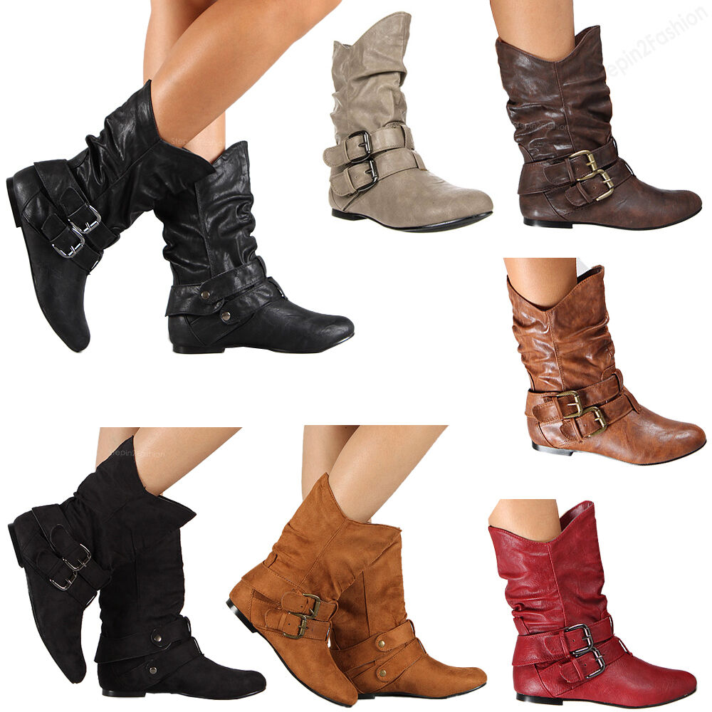 new womens boots high fashion slouch flat heel boot hot