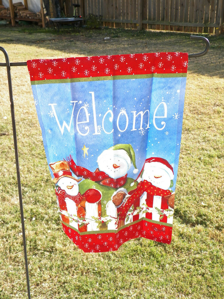 New Christmas Snowman Welcome White Fence Decorative
