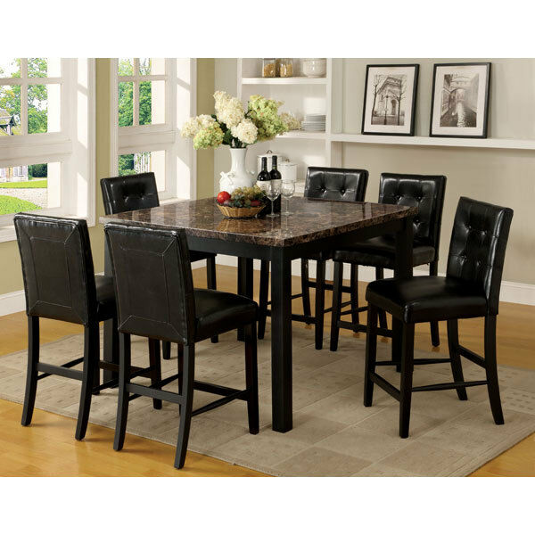 Boulder Black Finish Faux Marble Table Top Counter Height ...