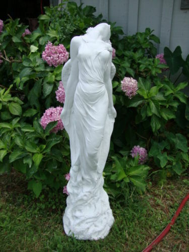 Ascending Angel White Concrete Painted White Cement Statue