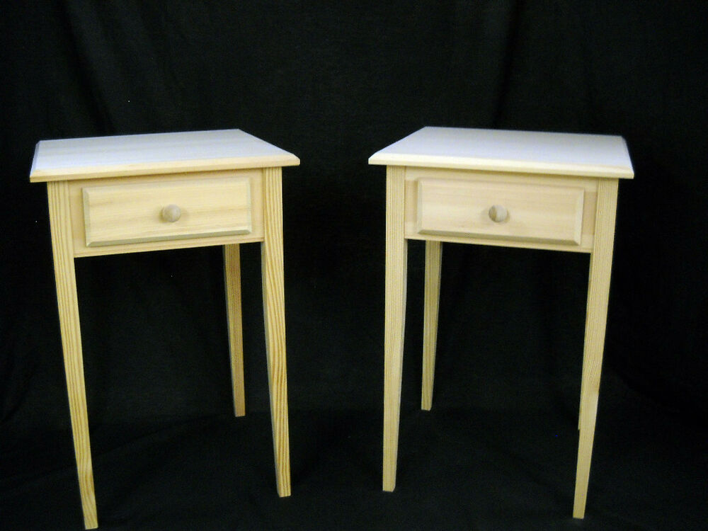 Set of unfinished pine end table night stand w beveled