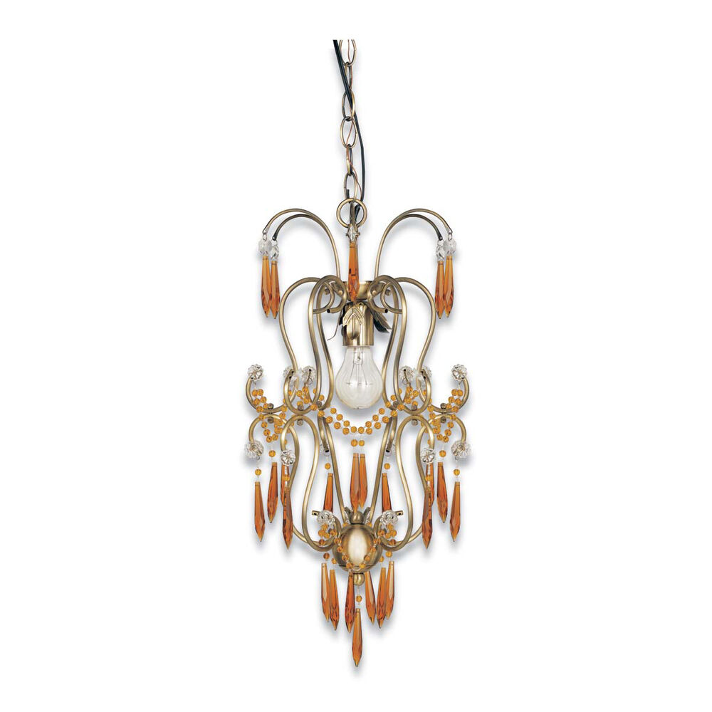 Crystal Chandelier Old: ANTIQUE BRASS AND CRYSTAL CHANDELIER/PENDANT