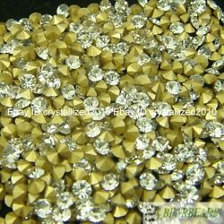 1440Pcs Clear Top Czech Crystal Rhinestones Round Pointed Foiled Back Pick DIY