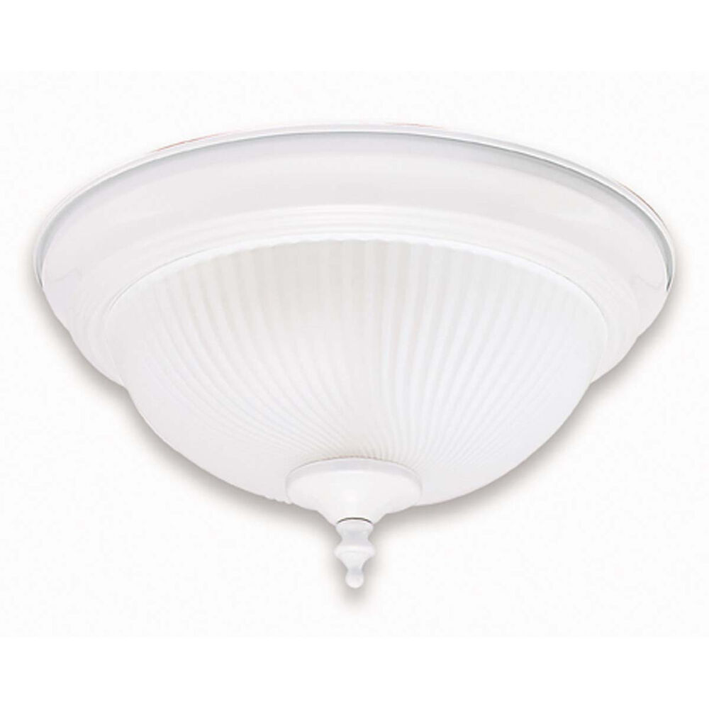 White Ceiling Lamps: WHITE AND FROSTED SWIRL GLASS CEILING LIGHT FIXTURE 13""