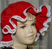 GIRLS RED CHRISTMAS VICTORIAN / MEDIEVAL MOP CAP FANCY DRESS COSTUME