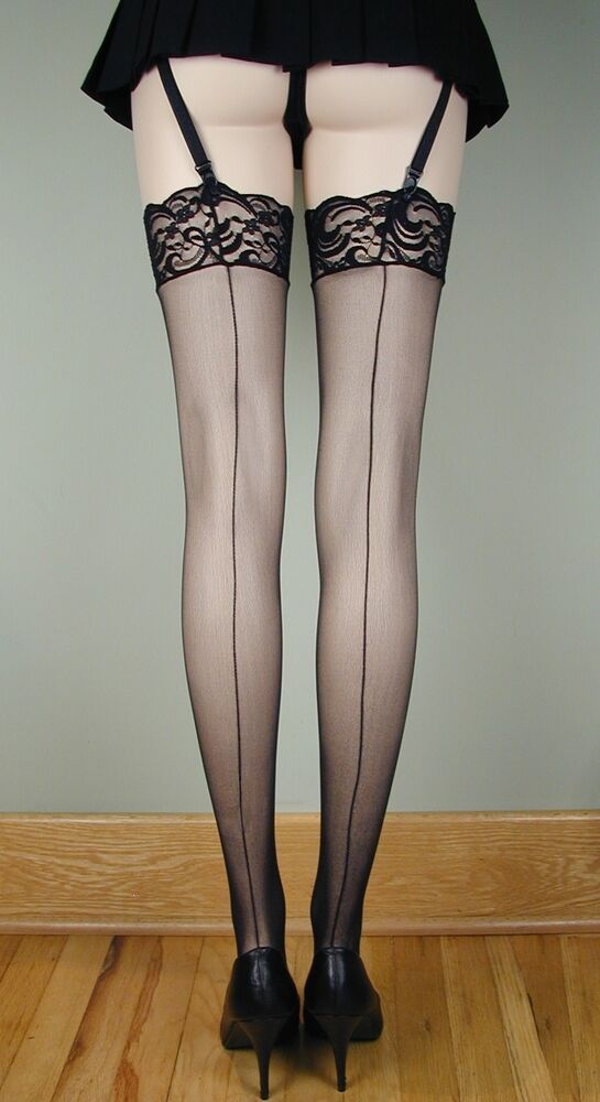 SHEER LACE TOP Thigh High BACK SEAM Stockings BLACK O/S