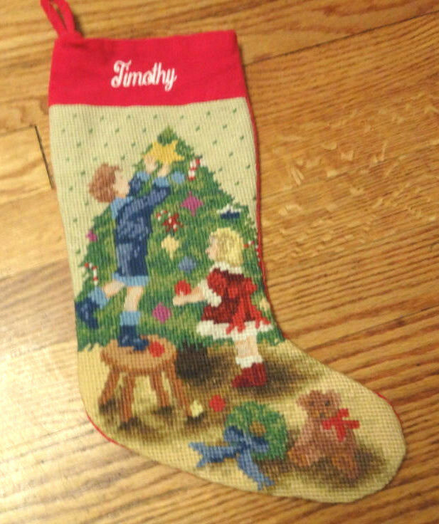 Vintage Personalized Needlepoint Santa Presents Toys