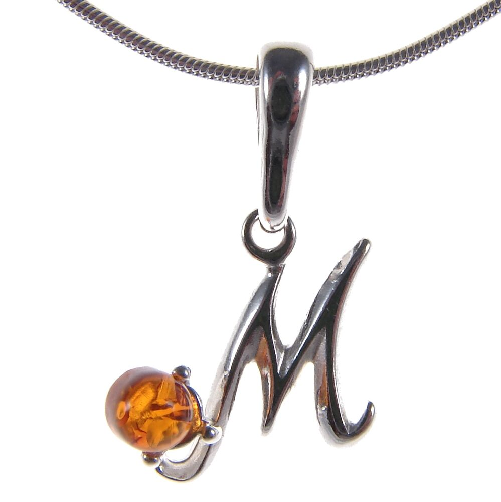 Alphabet Jewelry: BALTIC AMBER STERLING SILVER 925 ALPHABET LETTER M PENDANT