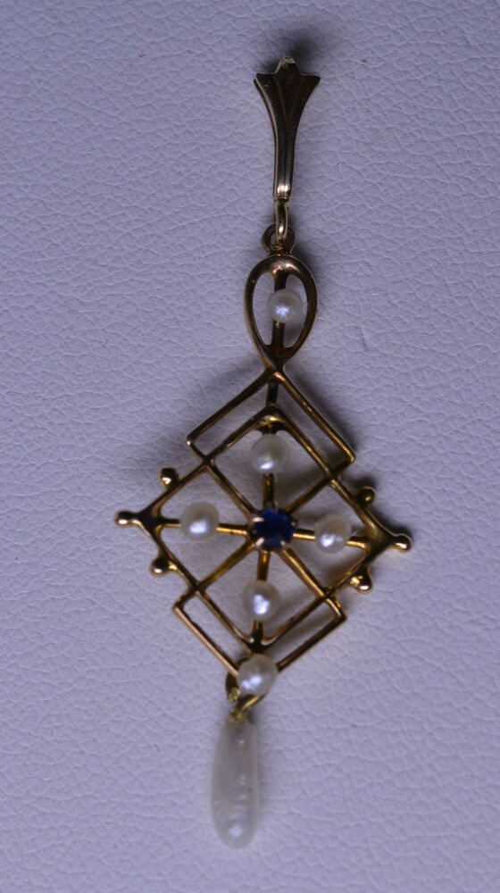 Vintage 14k Yellow Gold Sapphire Amp Seed Pearl Lavaliere