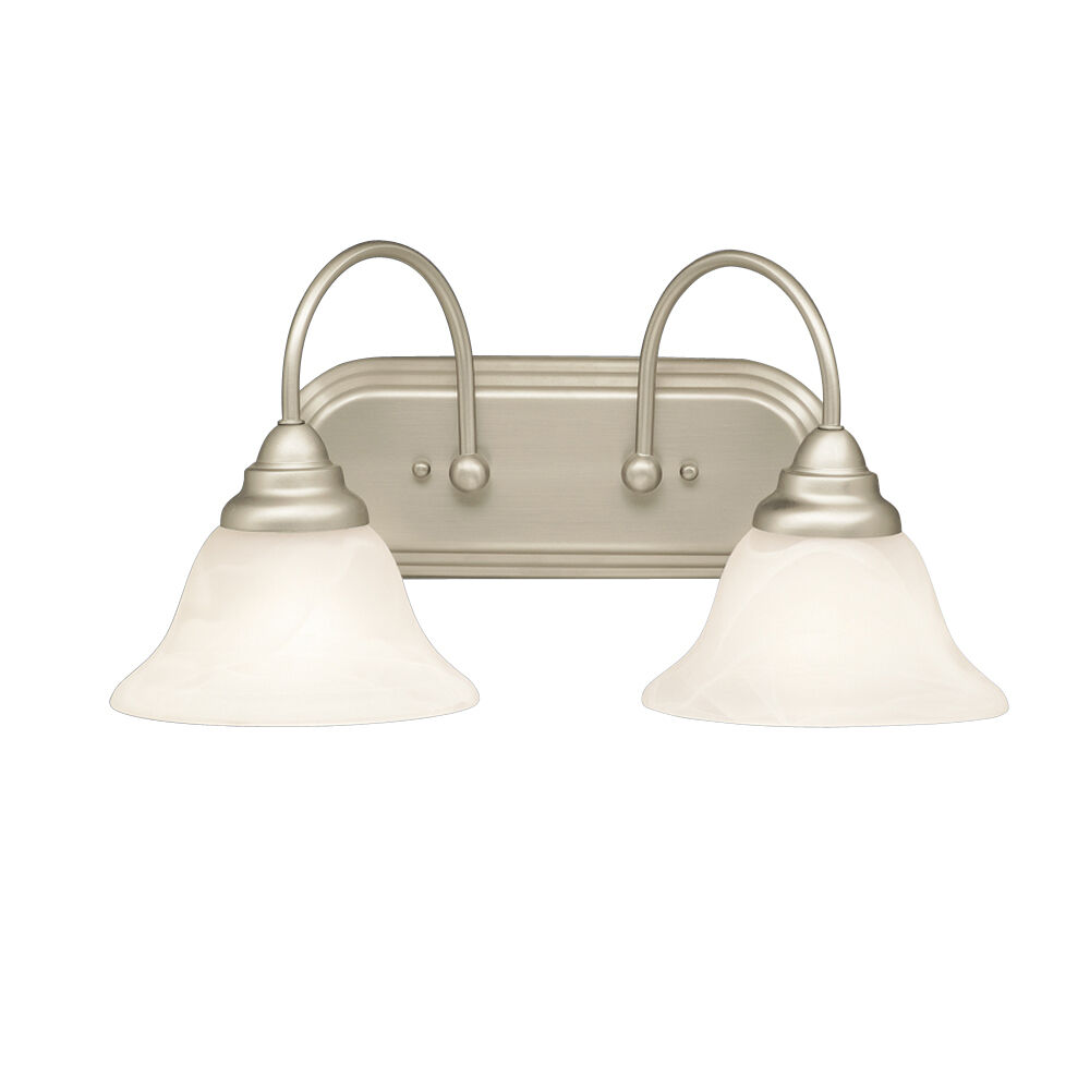 Brushed nickel and alabaster swirl glass 2 light bath wall fixture 18 ebay for Brushed nickel bathroom lighting fixtures