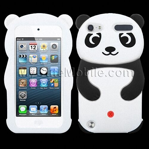 apple ipod touch 5th 6th generation case white panda silicone skin cover pouch ebay. Black Bedroom Furniture Sets. Home Design Ideas