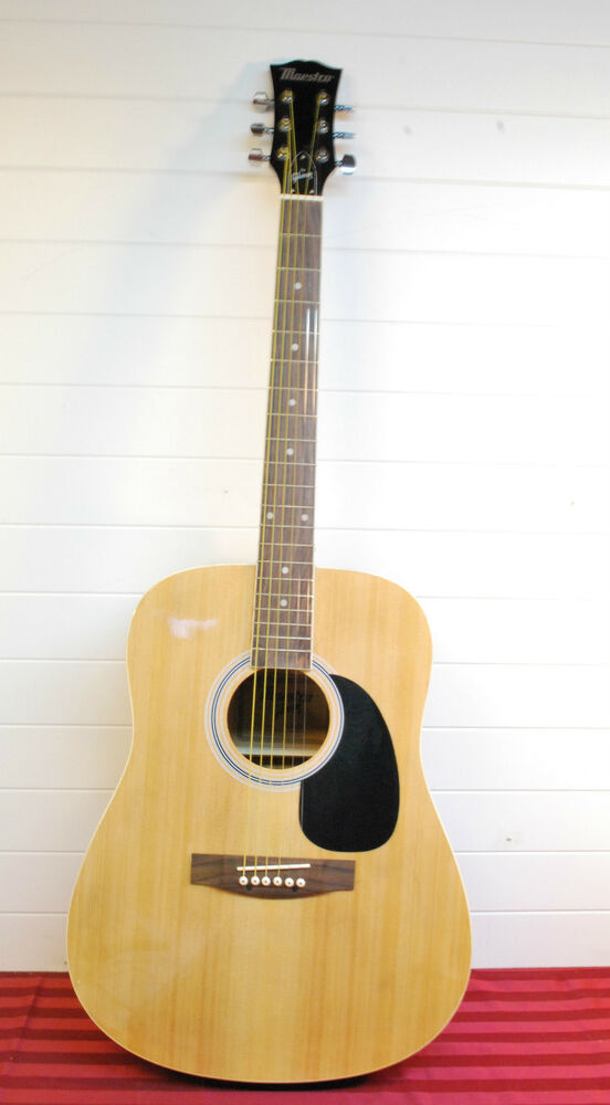 gibson maestro full sized acoustic guitar in natural finish with accessories ebay. Black Bedroom Furniture Sets. Home Design Ideas