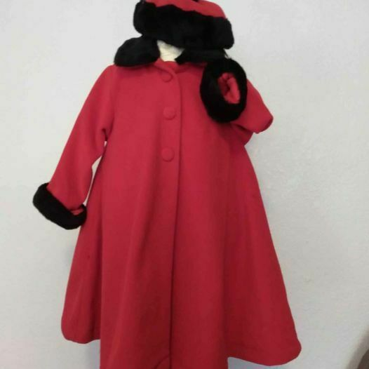 New girl long dress coat faux fur trim red w hat sz 6 party holiday