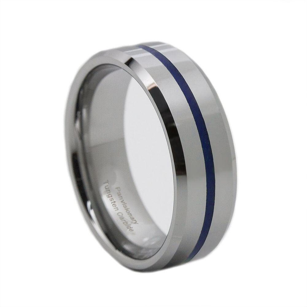 Thin Blue Line Tungsten Carbide Ring 8mm Flat Profile With Beveled Edges Ebay