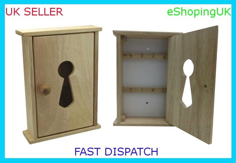 New beech wood wooden wall key cupboard cabinet rack