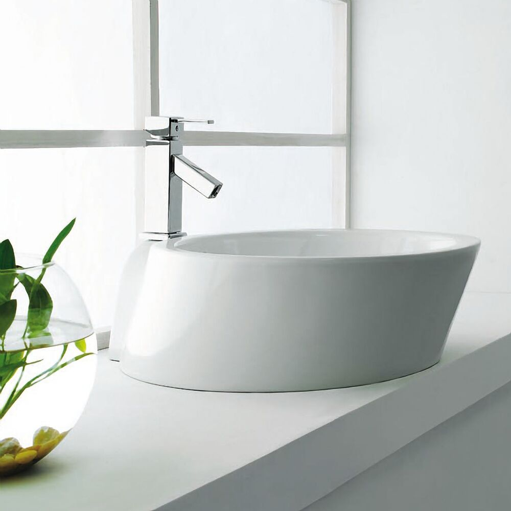 Modern White Oval Round Ceramic Bathroom Vessel Sink